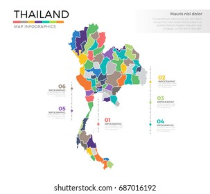 Thailand country map infographic colored vector template with regions and pointer marks