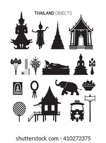Thailand Culture Objects, Silhouette Set, Traditional, Buddhist, Temple, House, Tuk Tuk
