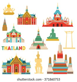 Thailand detailed monuments. Vector illustration