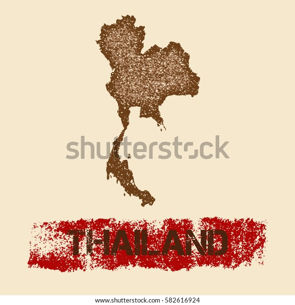 Thailand distressed map. Grunge patriotic poster with textured Thailand outline ink stamp and roller paint mark, vector illustration.