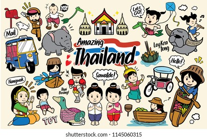 Thailand Doodle Cartoon vector set