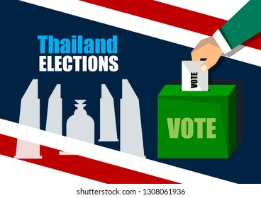 Thailand Elections 2019 is coming up, Box for vote  and The democracy monument shadow on color of Thai flag background