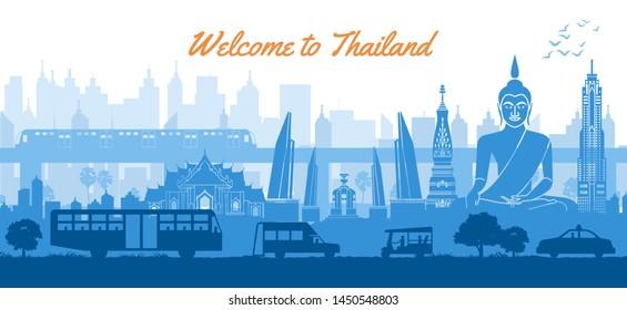 Thailand famous landmark in scenery design blue color silhouette design, vector illustration
