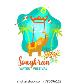 Thailand festival happy songkran. Sketch colorful style logo. Template flyer traditional thai new year day. Silhouette elephant with water drop.