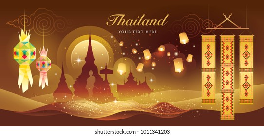 Thailand Festival Vector, North Thai traditional, Hanging paper Lantern in Thai temple, Tung Lanna,