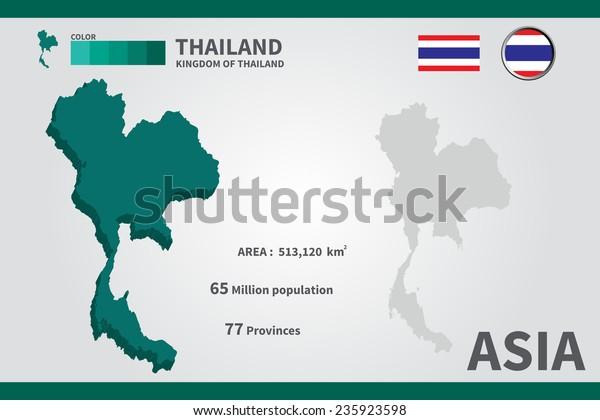 Thailand Flag Asia World Map Vector Stock Vector (Royalty ...