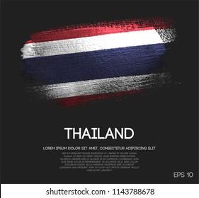 Thailand Flag Made of Glitter Sparkle Brush Paint Vector
