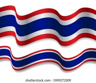 Thailand flag with ribbon shape vector design