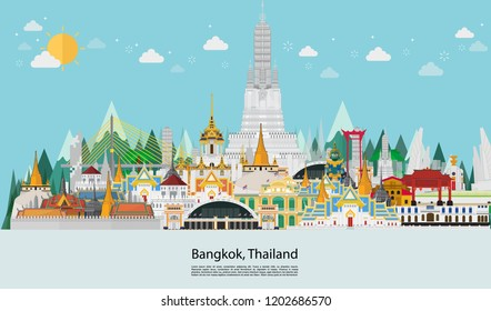 Thailand in flat style. Bangkok in and Landmarks