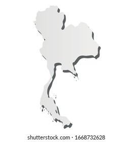Thailand - grey 3d-like silhouette map of country area with dropped shadow. Simple flat vector illustration.