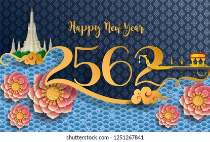 Thailand happy  new year 2562 with gold paper cut art and craft style on color Background.