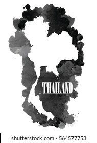 Thailand. High detailed vector maps. Spray watercolor paint.