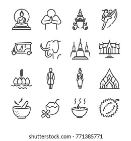 Thailand icon set. Included the icons as Thai greeting, temple, boxing, pagoda, Buddha statue, tom yum kung and more.