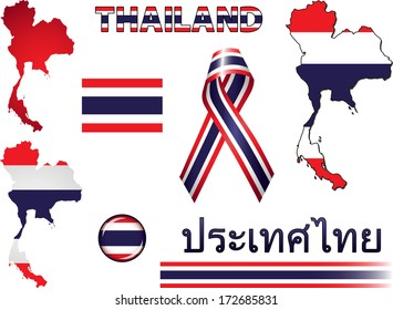 Thailand Icons. Set of vector graphic images and symbols representing Thailand. The text says 'Thailand' in Thai.