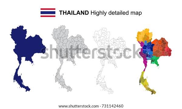 Thailand Isoleret Vektor Meget Detaljeret Lagervektor