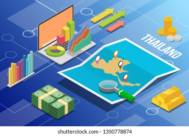 thailand isometric business economy growth country with map and finance condition - vector