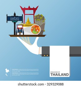 Thailand landmark global travel infographic in flat design. Vector Illustration.