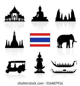 Thailand Landmarks Icon Set. Vector and Illustration