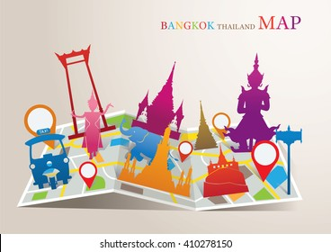 Thailand Landmarks Map, Bangkok Travel Attraction, Traditional Culture