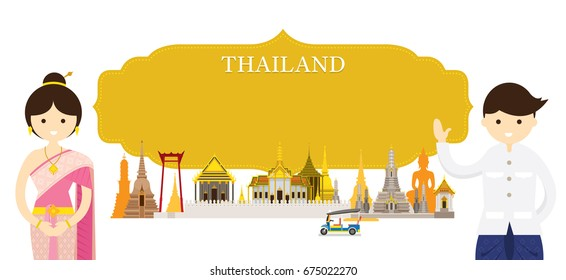 Thailand Landmarks and people in Traditional Clothing, Culture, Travel and Tourist Attraction