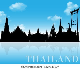 Thailand Landmarks Skyline and Silhouette. Illustrator