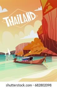 Thailand Landscape Long Tail Boat Seascape Beautiful Asian Beach Seaside View Flat Vector Illustration
