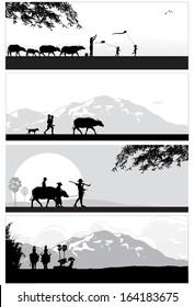 Thailand landscapes, vector