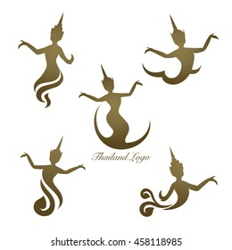 Thailand logo design, Thai woman pattern, vintage women dance