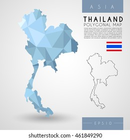Thailand : Low Poly Map : Vector Illustration