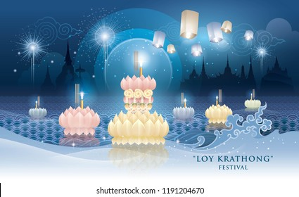 Thailand Loy Krathong Festival, Thai traditional, Thai Water Splash and Lantern with Landmark in Thailand, Krathong Blue Vector
