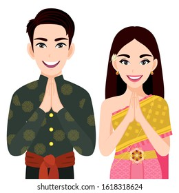 "Thailand male and female in traditional costume, Thai people greeting ""Sawasdee"" and thai flag on white background cartoon character vector"