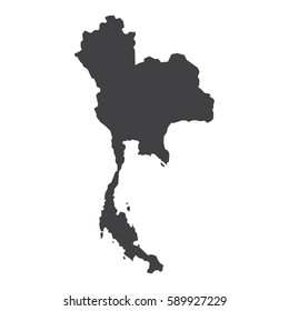 Thailand map in black on a white background. Vector illustration
