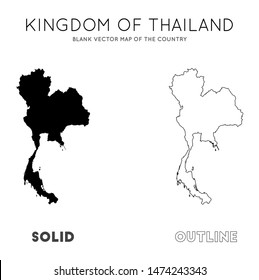 Thailand map. Blank vector map of the Country. Borders of Thailand for your infographic. Vector illustration.