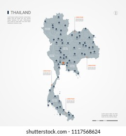 Thailand map with borders, cities, capital Bangkok and administrative divisions. Infographic vector map. Editable layers clearly labeled.