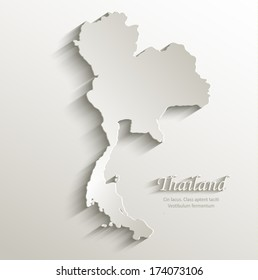 thailand map card paper 3D natural vector blank