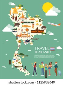 Thailand map with colorful landmarks illustration design