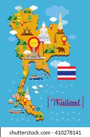 Thailand Map Detail Landmarks, Travel Attraction, Traditional Culture