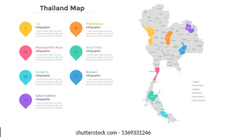 Thailand map divided into provinces and administrative areas. Country map with indication of territorial divisions, regional borders. Modern infographic design template. Flat vector illustration.