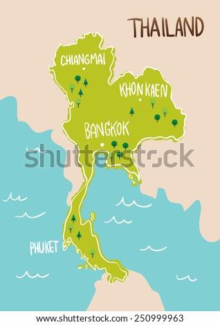 Thailand Map Drawing Illustration Vector Stock-Vrgrafik ... on