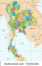 Thailand Map - High Detailed Vector Illustration