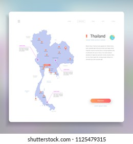Thailand map infographics vector template with cities, capital Bangkok and pointer marks.