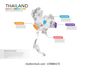 Thailand map infographics vector template with regions and pointer marks