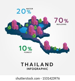 Thailand map isometric format consisting of buildings, trees, water and can be used in the form of an infographic. Vector. Illustration.