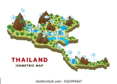 Thailand map isometric format consisting of buildings, trees, water, mountain and can be used in the form of an infographic. Vector illustration.
