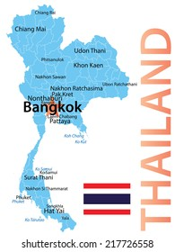 Thailand - map with largest cities, carefully scaled text by city population, geographically correct.