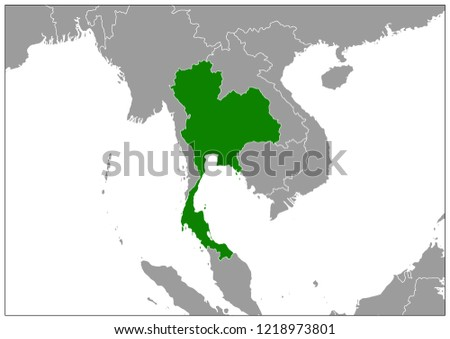 Thailand Map On South East Asia Stock Vector (Royalty Free ...