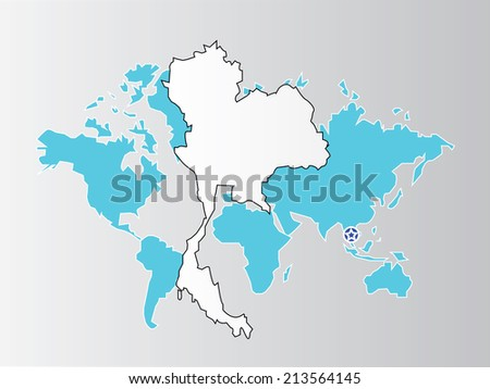 Thailand Map On World Map Backgroundmap Stock Vector (Royalty Free ...
