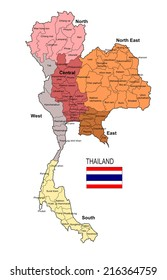 Thailand Map Region and Province Vector