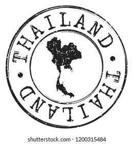 Thailand Map Silhouette. Postal Passport Stamp Round Vector Icon Seal badge Illustration.