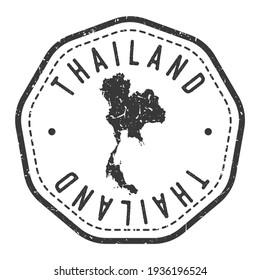 Thailand Map Stamp Retro Postmark. Silhouette Postal Passport. Seal Round Vector Icon. Badge Vintage Postage Design.